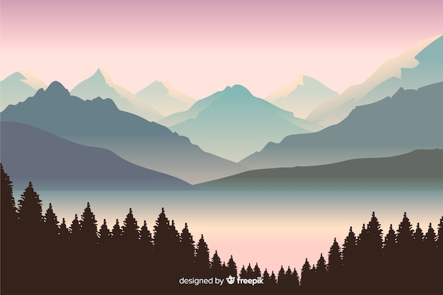 Beautiful view with mountains landscape Vector | Free Download