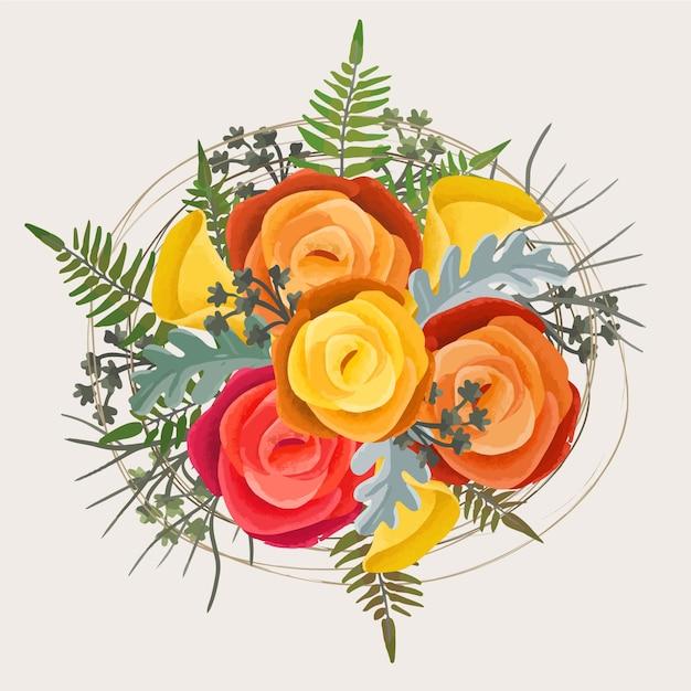 Beautiful vintage floral bouquet Free Vector
