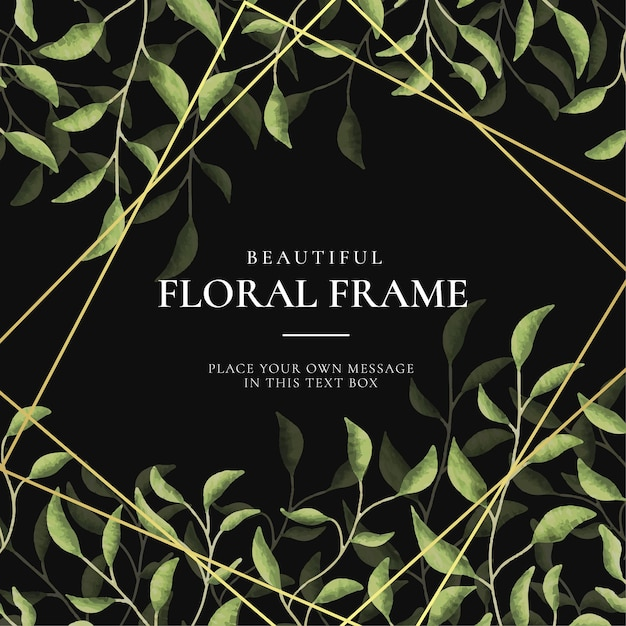 Beautiful vintage floral frame background with watercolor hand drawn leaves Free Vector