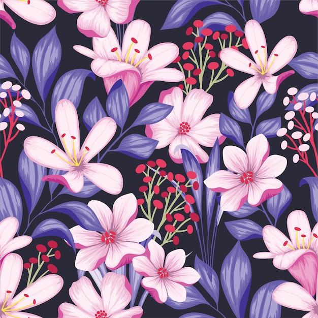 美しいヴィンテージ花柄シームレスパターン Premiumベクター