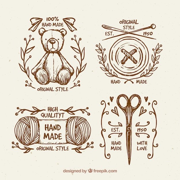 Beautiful vintage hand drawn sewing badges Free Vector