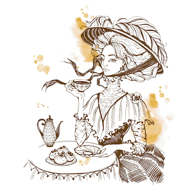 Beautiful vintage lady. tea party. girl in a hat drinking tea. Premium Vector