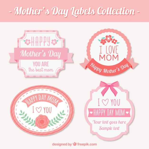 Beautiful vintage mother\'s day labels with pink\ details
