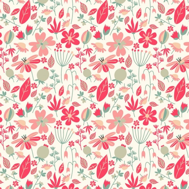 Beautiful vintage pattern with flowers and leaves Free Vector