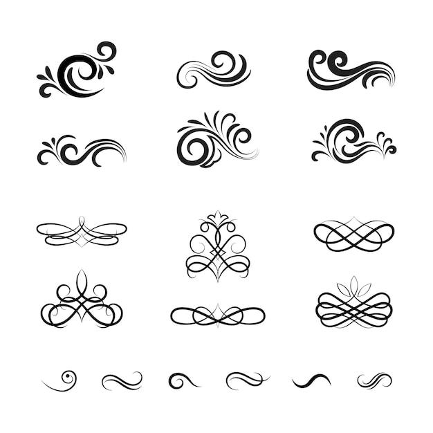 Красивые старинные векторные декоративные элементы и украшения Бесплатные векторы