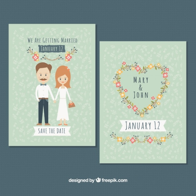 Beautiful vintage wedding cards Free Vector