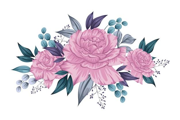 Bellissimo mazzo di fiori viola Vettore gratuito