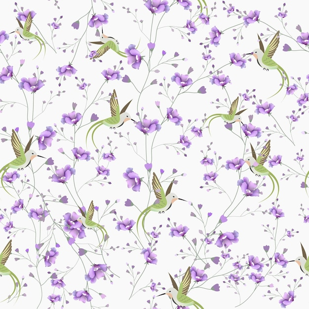 Beautiful violet flower and hummingbird seamless pattern. Premium Vector