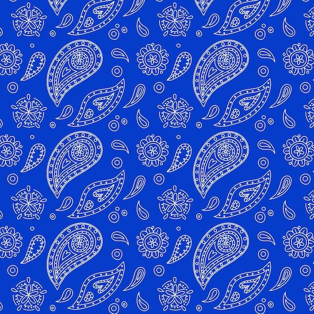 Beautiful vivid blue paisley bandana seamless pattern Free Vector