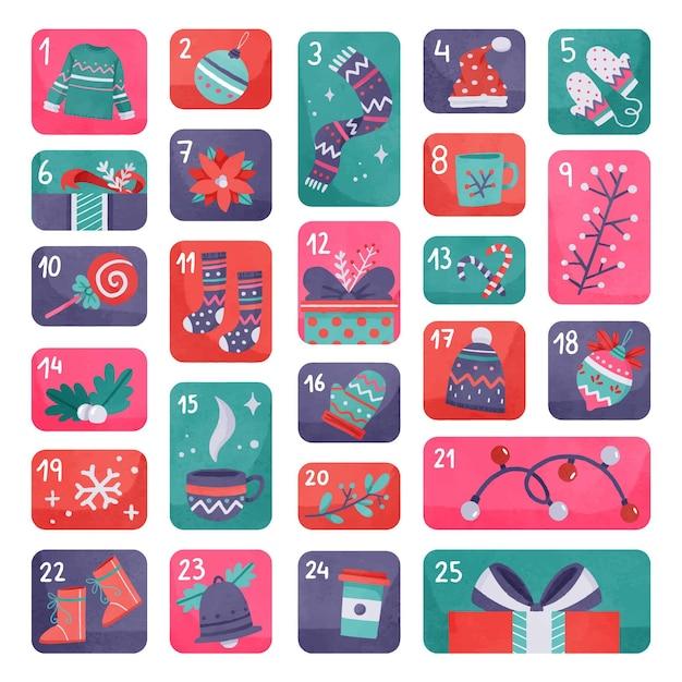 Beautiful watercolor advent calendar Free Vector