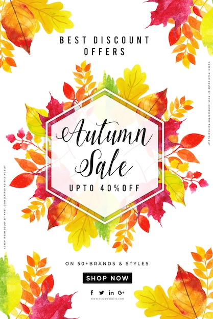 Beautiful watercolor autumn leaves sale poster Premium Vector