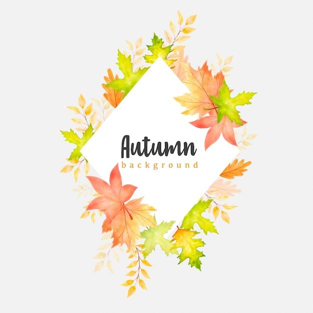 Beautiful watercolor autumn leaves wreath background template Premium Vector