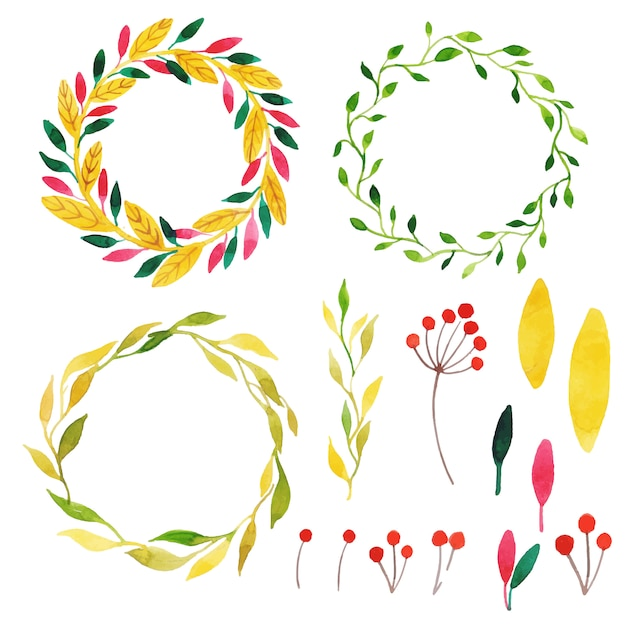 Beautiful watercolor autumn wreath collection Free Vector