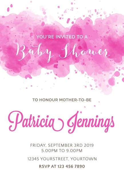 Beautiful watercolor baby shower invitation vector free download beautiful watercolor baby shower invitation free vector stopboris