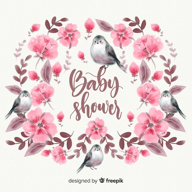 Beautiful watercolor baby shower template Free Vector