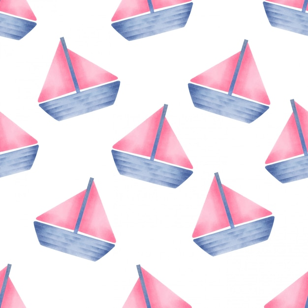 Beautiful watercolor baby yatch seamles pattern Premium Vector