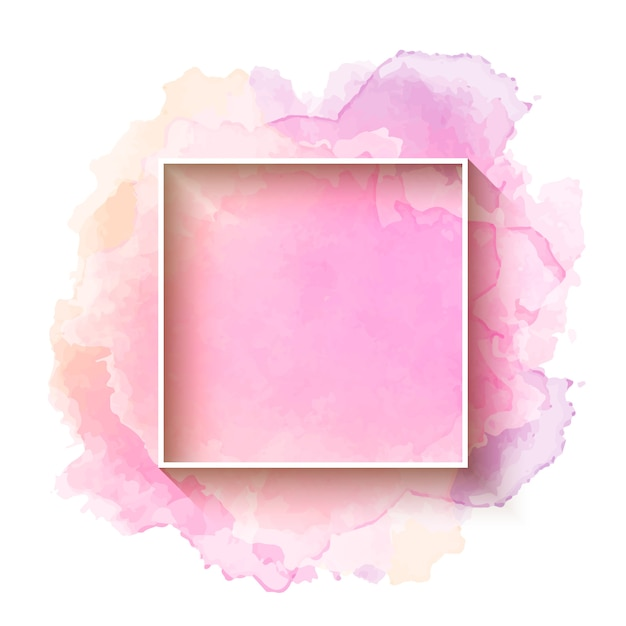 Beautiful Watercolor Background With Frame Vector Free