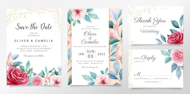 Beautiful watercolor botanic wedding invitation card template set with flowers decoration. Premium V