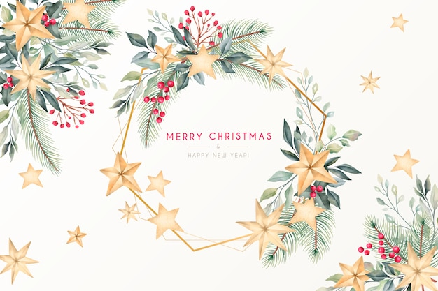 Beautiful watercolor christmas greeting card with golden frame Free Vector