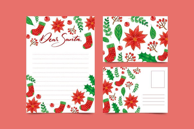 Beautiful watercolor christmas stationery template Free Vector