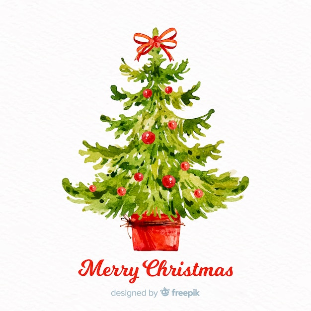Beautiful Watercolor Christmas Tree Vector Free Download