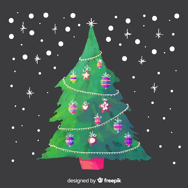 Image Christmas Tree Free.Beautiful Watercolor Christmas Tree Vector Free Download