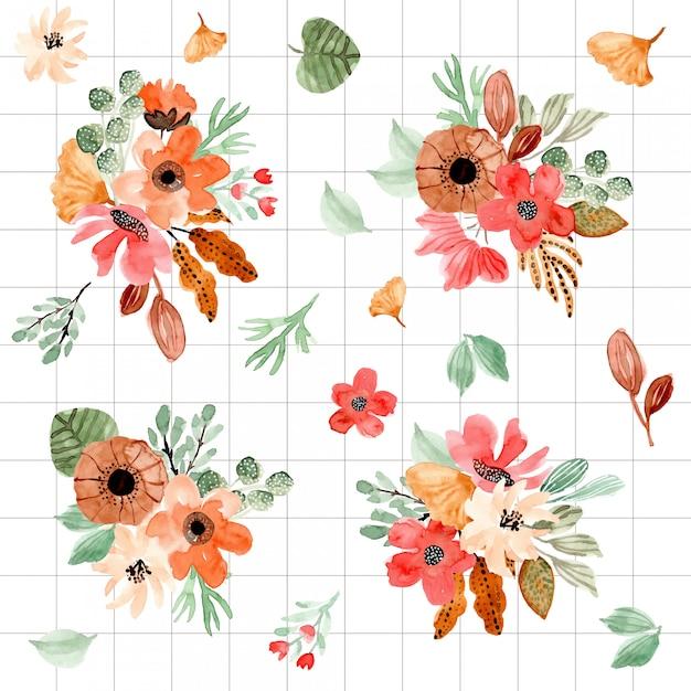 Beautiful watercolor floral arrangement collection Premium Vector