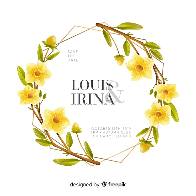 Beautiful watercolor floral frame wedding invitation Free Vector