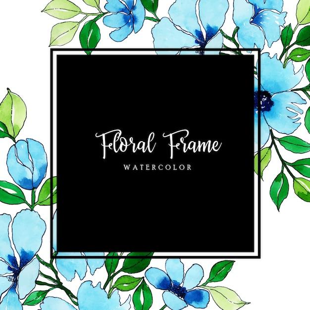 Beautiful watercolor floral frame Premium Vector