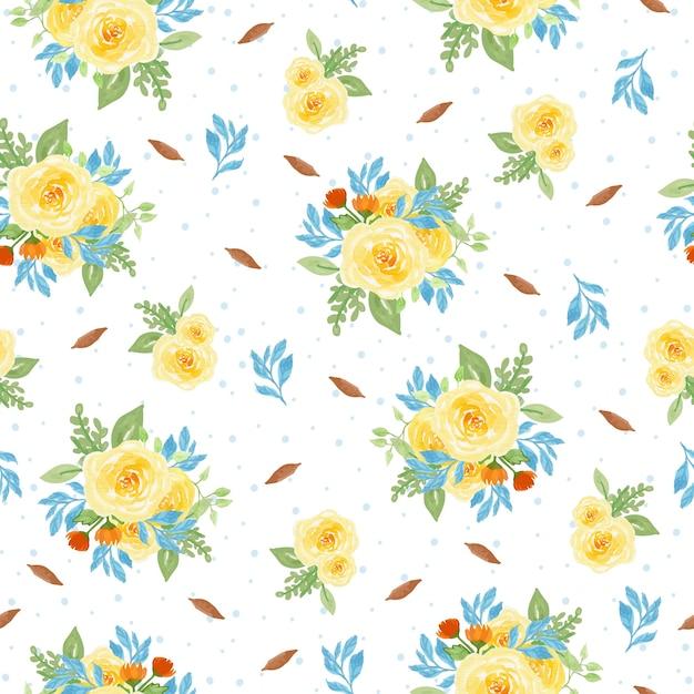 아름 다운 수채화 꽃 원활한 패턴 프리미엄 벡터