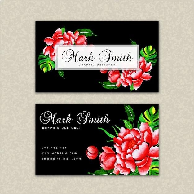Beautiful watercolor floral visiting card template Premium Vector