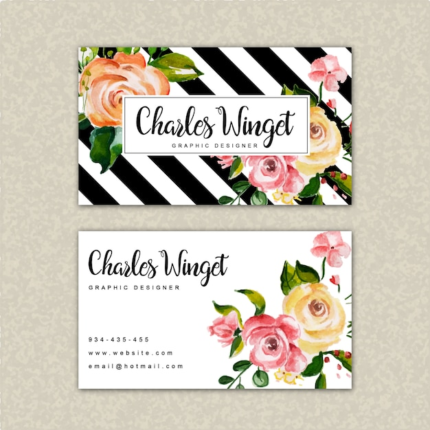 Beautiful watercolor floral visiting card template Premium Vector