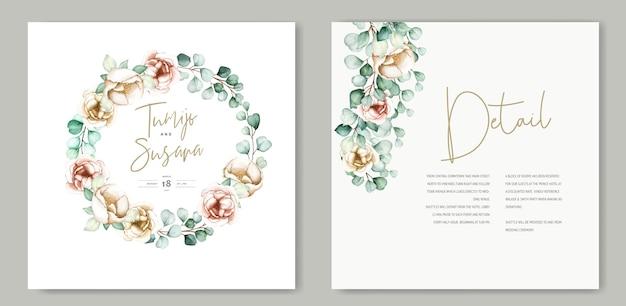 아름다운 수채화 꽃 웨딩 카드 템플릿 무료 벡터