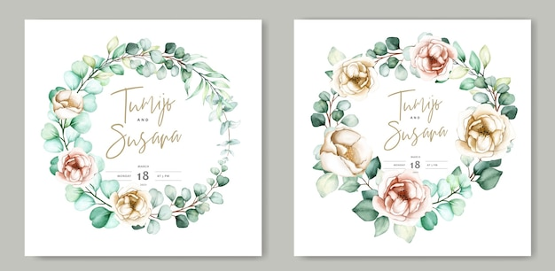 Beautiful watercolor floral wedding card template Free Vector