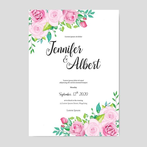 Beautiful watercolor floral wedding card template Premium Vector
