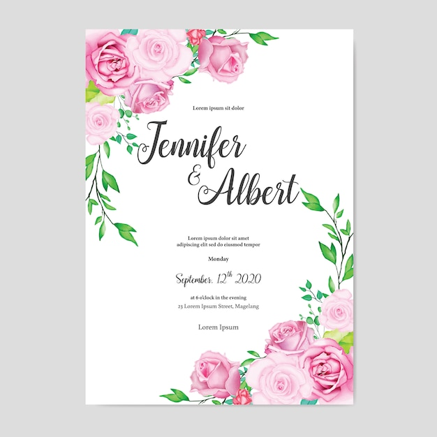 Beautiful watercolor floral wedding card template Premium Vector