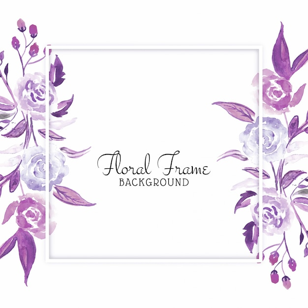 Beautiful watercolor flower card Free Vector