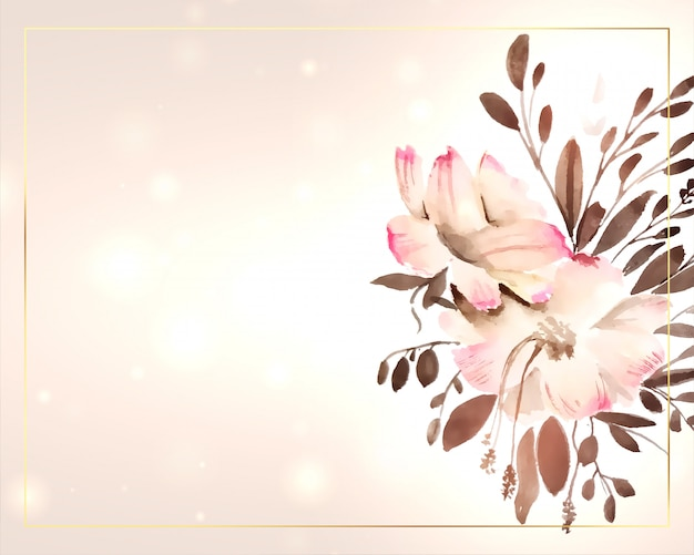 Beautiful watercolor flower decoration with text space Free Vector