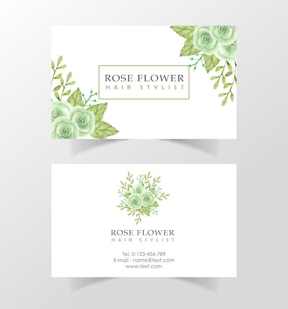 Beautiful watercolor flower visiting card template Premium Vector