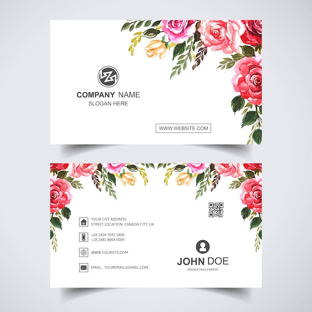Beautiful watercolor flower with business card template Free Vector