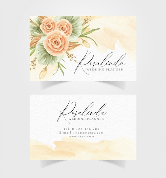 Beautiful watercolor flower with business card template Premium Vector