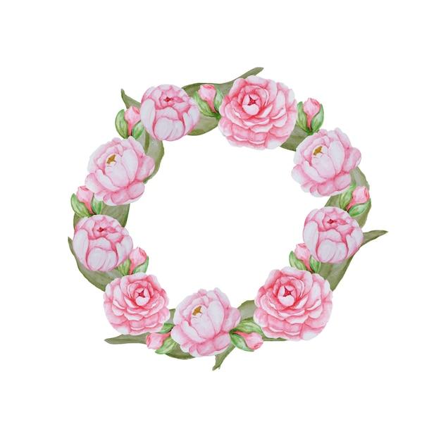 아름 다운 수채화 꽃 프레임입니다. 화이트에 핑크 꽃 조성 프리미엄 벡터