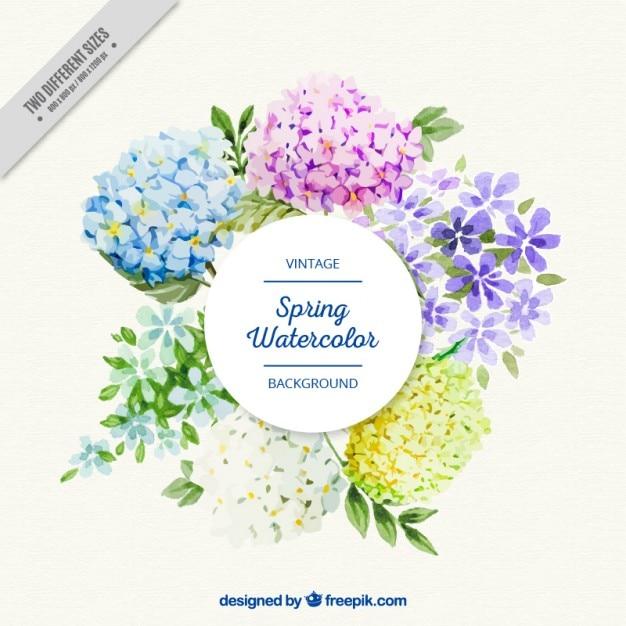Beautiful watercolor flowers label