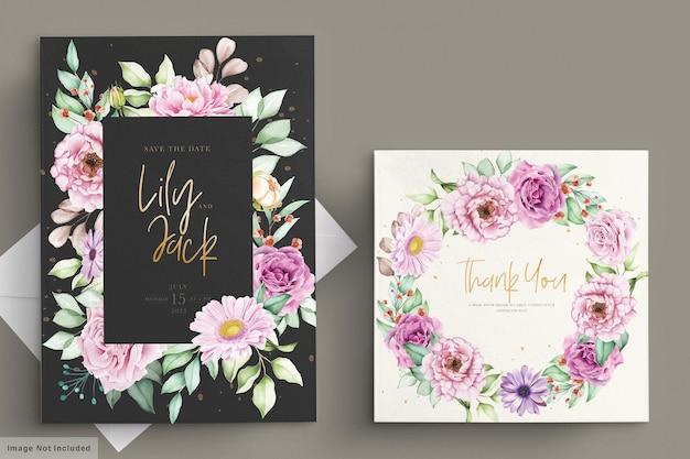 아름다운 수채화 꽃 웨딩 카드 세트 무료 벡터