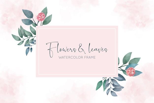 Bella cornice dell'acquerello con fiori e foglie Vettore gratuito