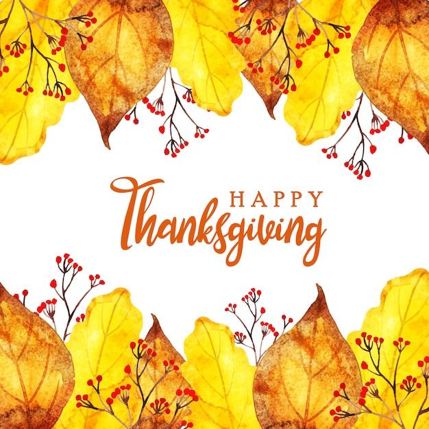 Beautiful watercolor happy thanksgiving background Premium Vector