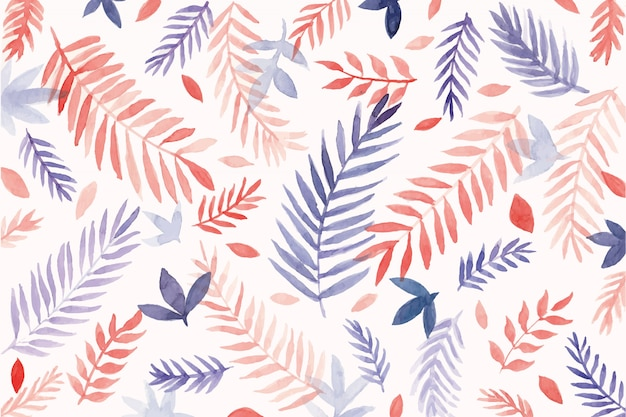 Beautiful watercolor leaves background Free Vector