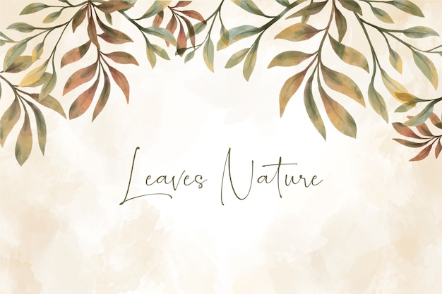아름다운 수채화 잎 배경 무료 벡터