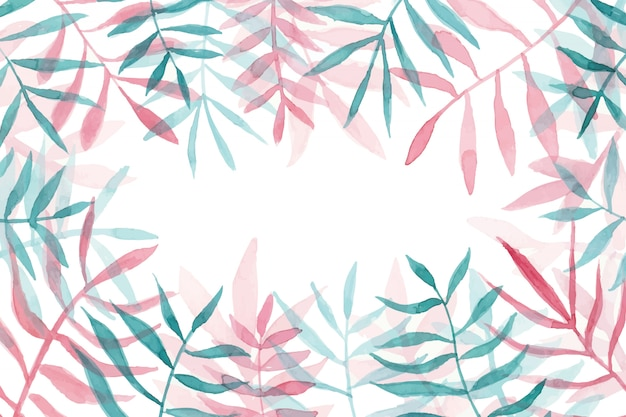 Beautiful watercolor leaves frame with copyspace Free Vector