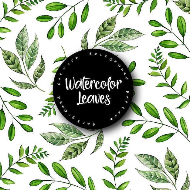 Beautiful watercolor leaves pattern background Premium Vector
